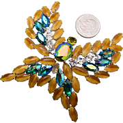 Stunning Art Glass and AB Rhinestone Butterfly Brooch