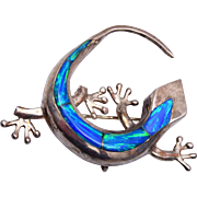 Sterling Gecko Brooch / Pendant With Opal Back