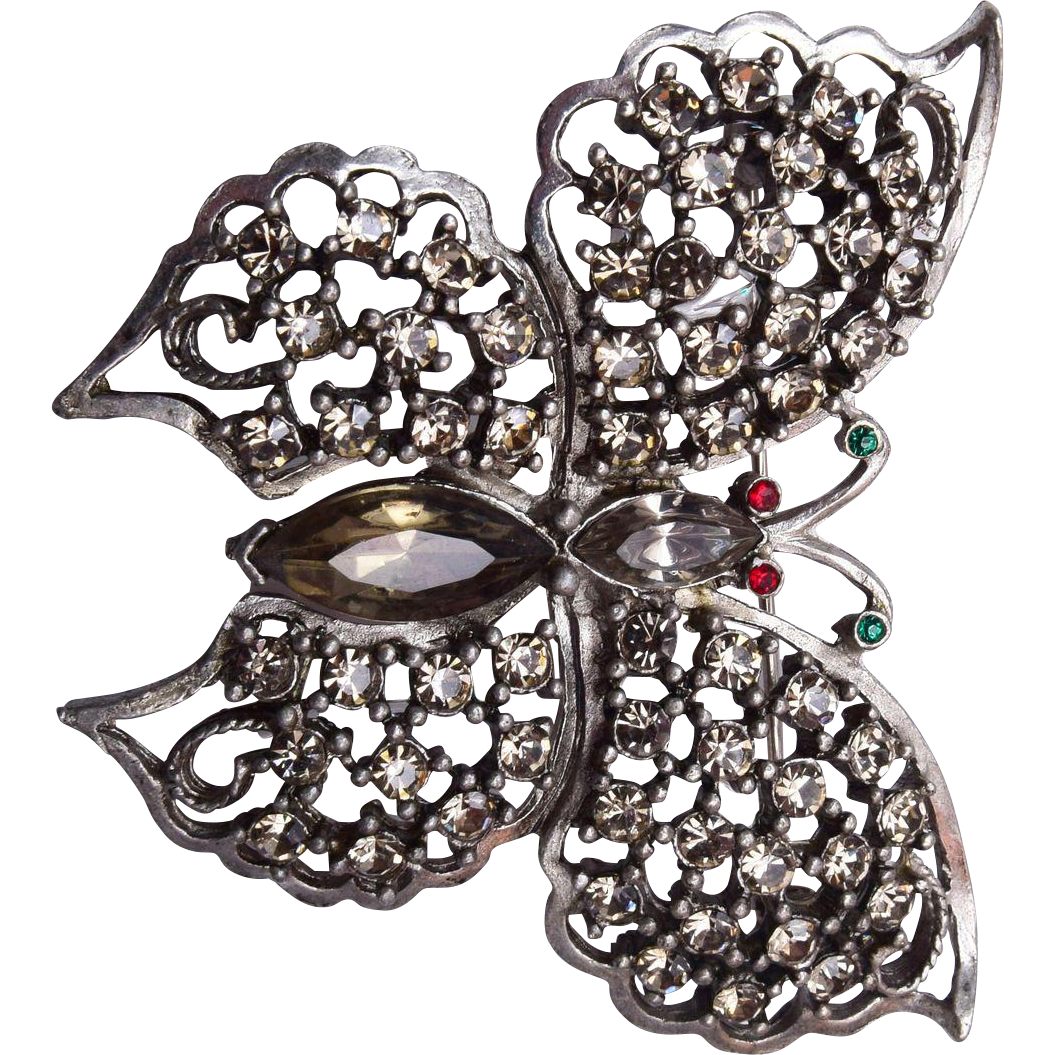 Black Diamond Butterfly Brooch