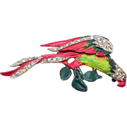 Made in USA Pot Metal Enameled Parrot Brooch