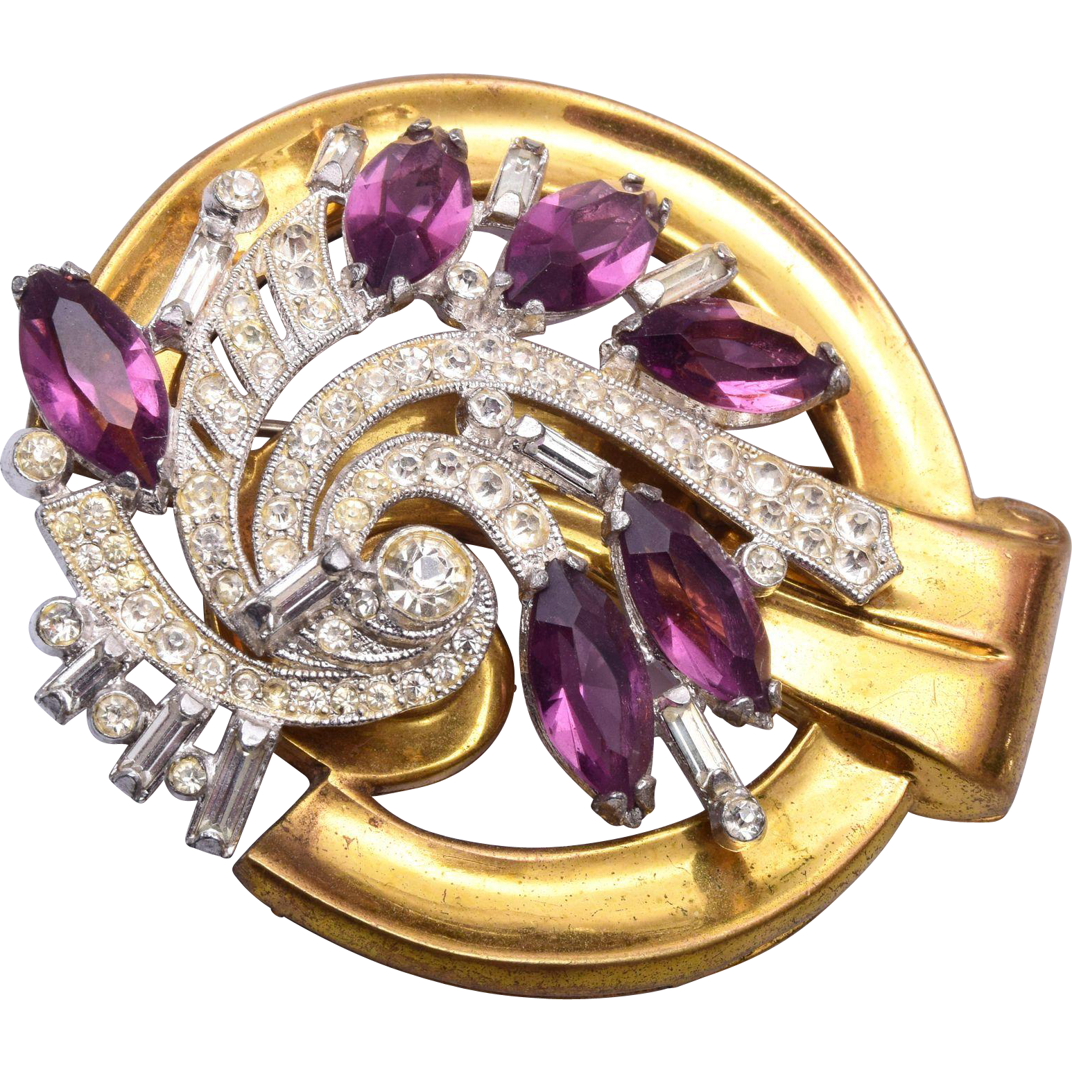 1940's McClelland Barclay Purple Rhinestone Brooch