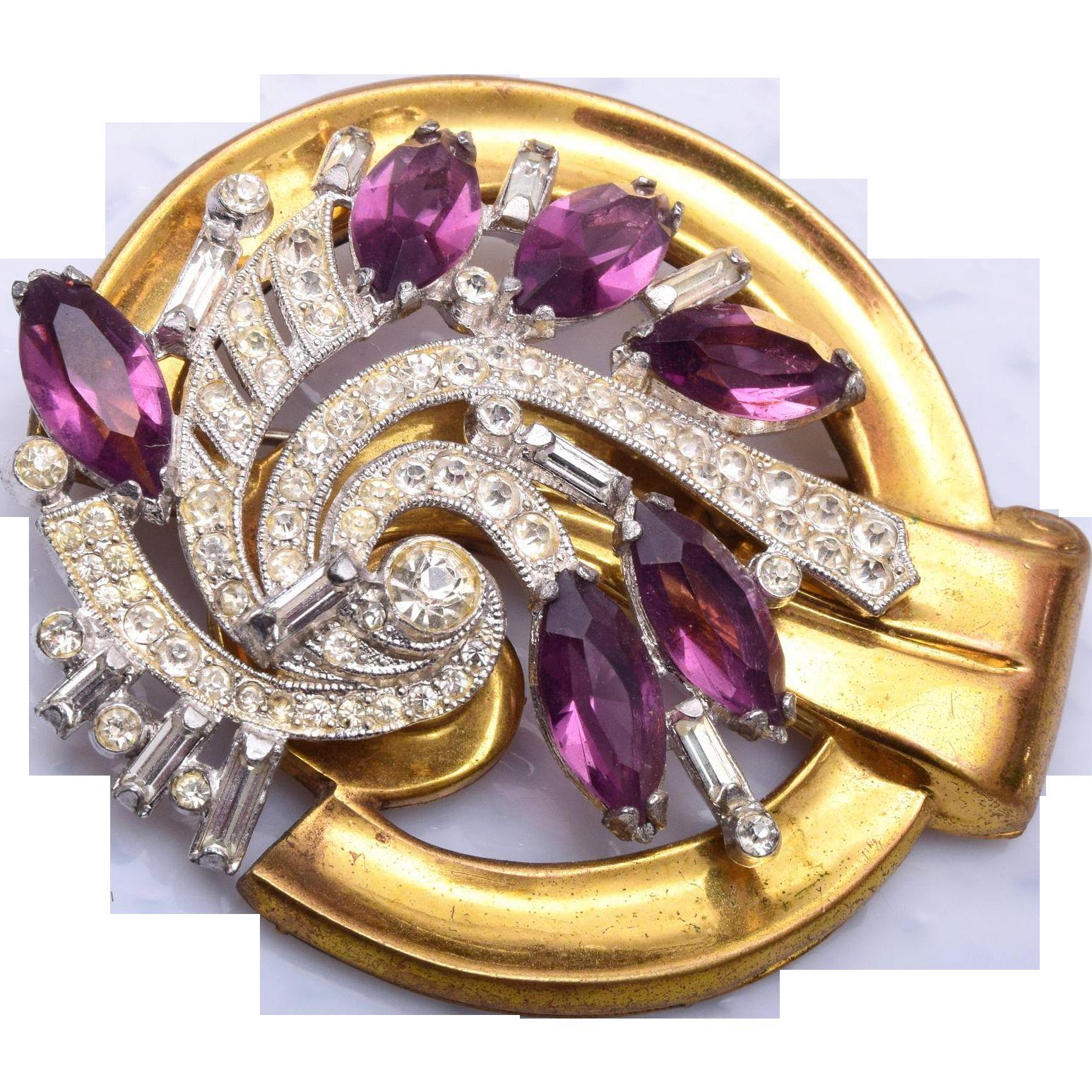 1940's McClelland Barclay Purple Rhinestone Brooch