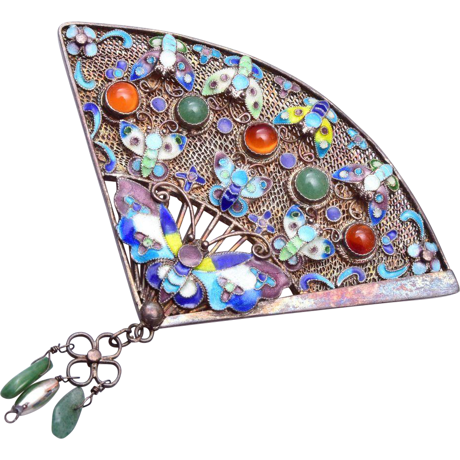 Sterling Chinese Filigree Enameled Butterfly Fan Brooch