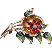 Flower Trembler Brooch Enameled with Rhinestones