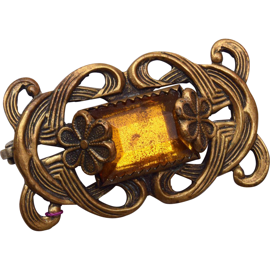 Topaz and Brass Brooch