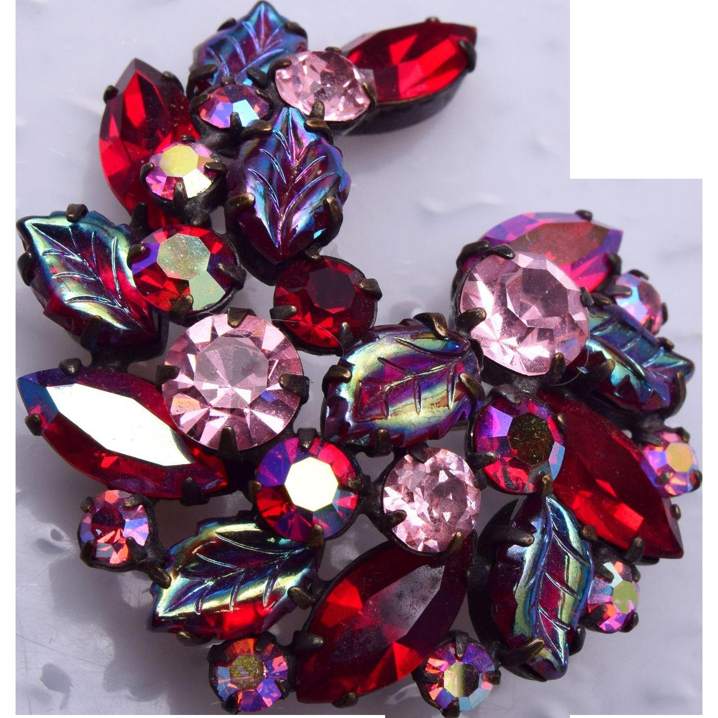 Regency Red and Pink Molded Leaf Brooch