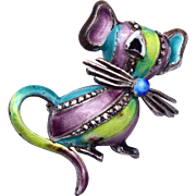 Sterling Germany Enameled and Marcasite Mouse Brooch