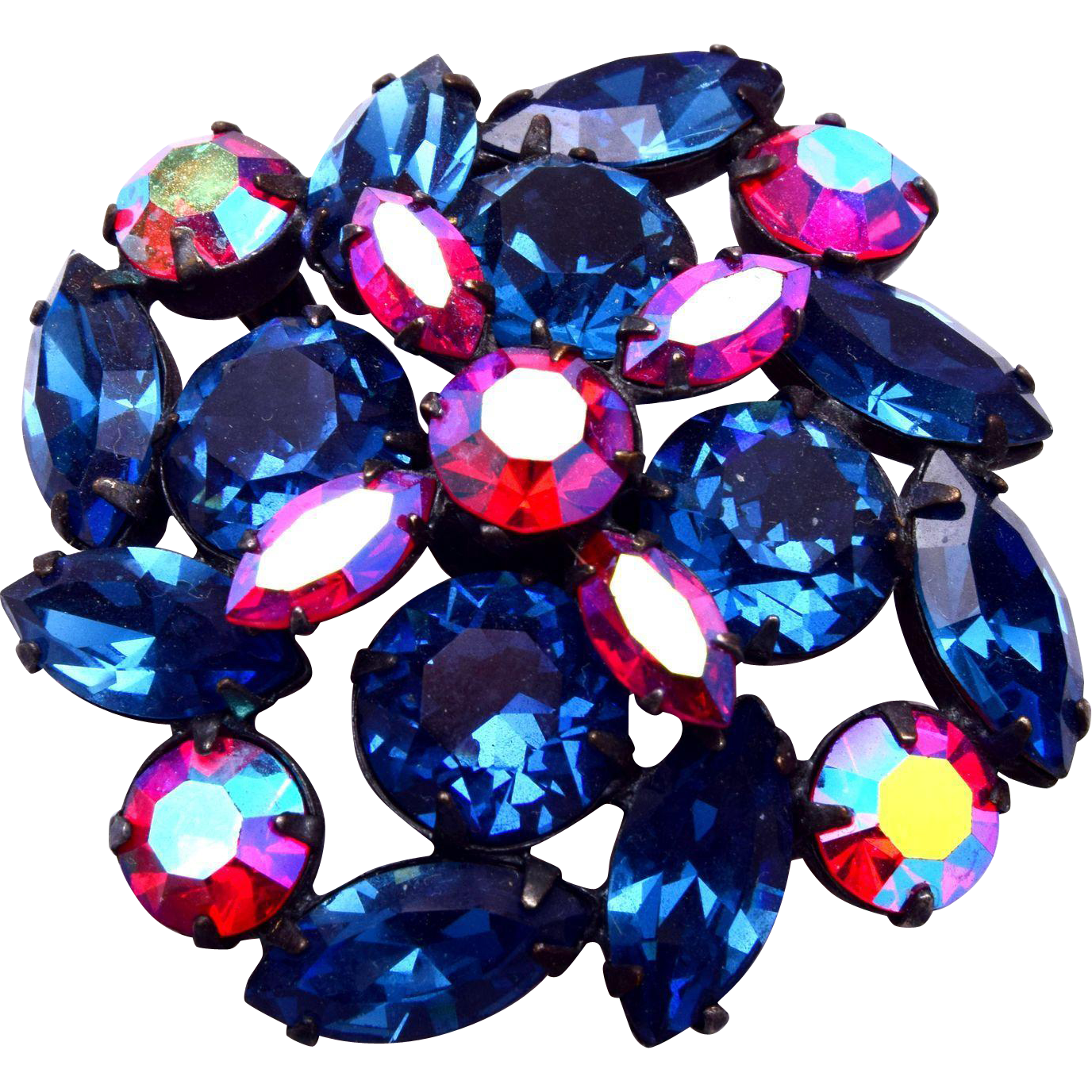 Regency Blue and Red Rhinestone Brooch