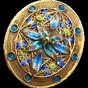 800 Silver Filigree and Enamel Brooch or Pendant