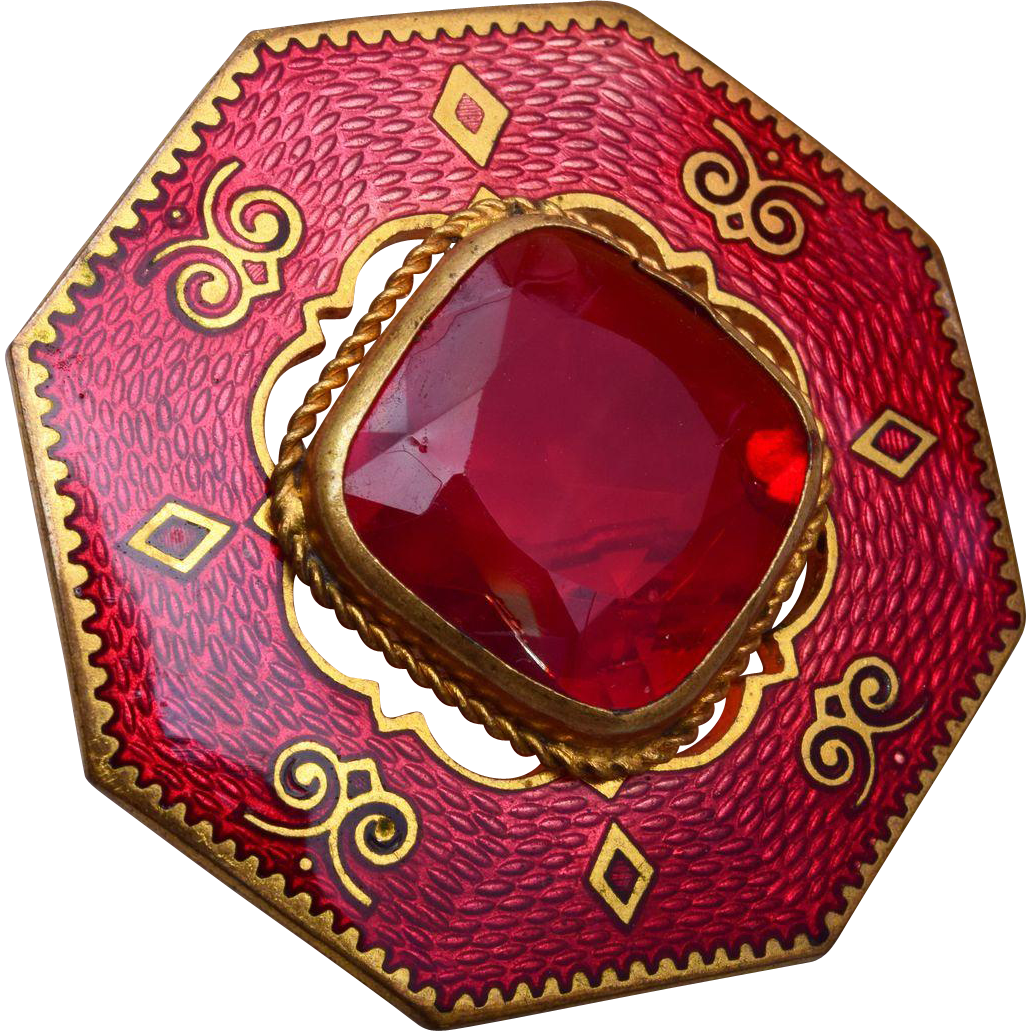 Red Enamel and Red Faceted Stone Brooch