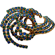 Blue and Green Rhinestone Brooch