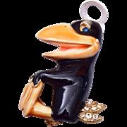 HAR Enameled Figural Heckle or Jeckle Brooch