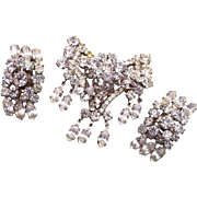 D&E Clear Rhinestone Brooch and Earring Set