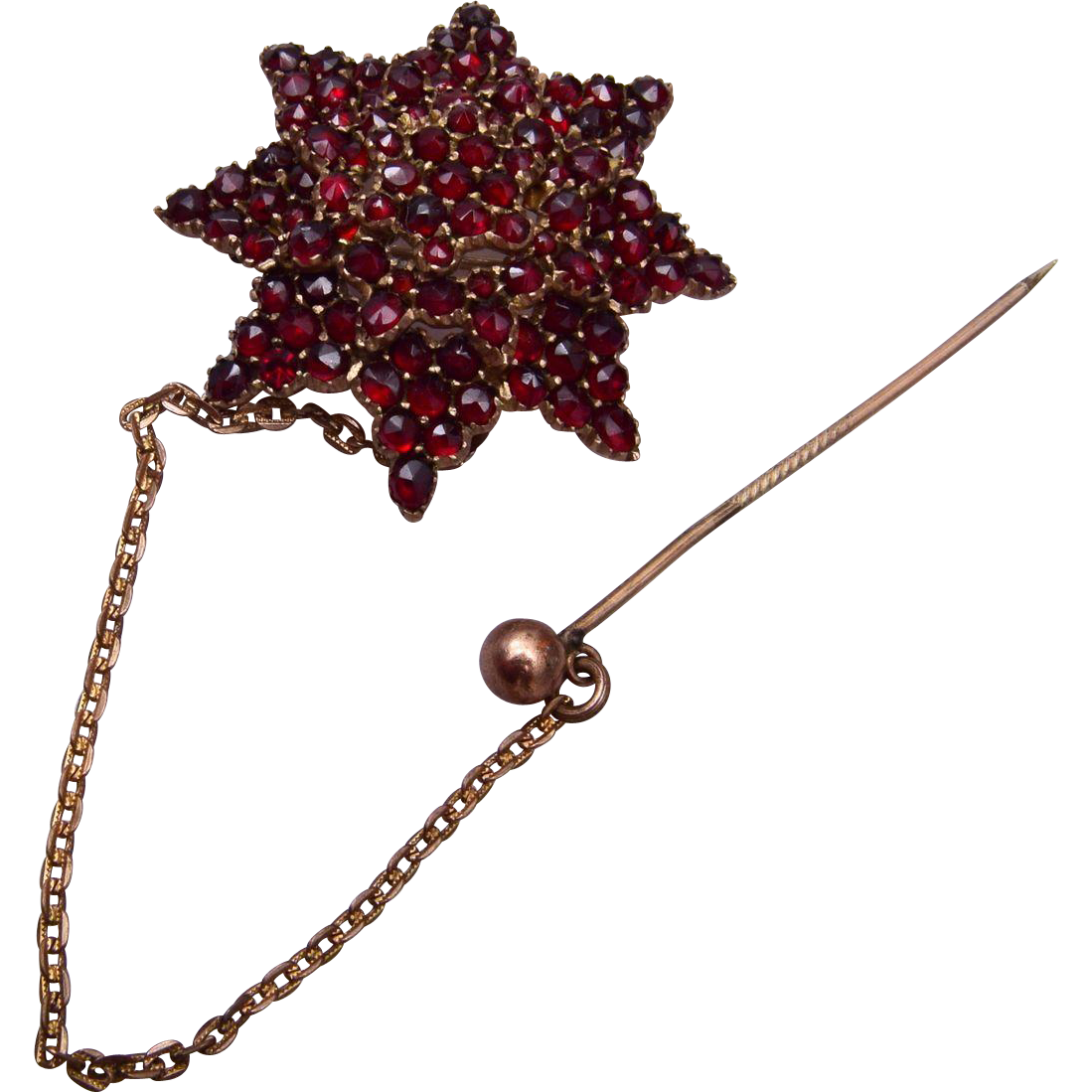 Bohemian Garnet Brooch With Safety Pin