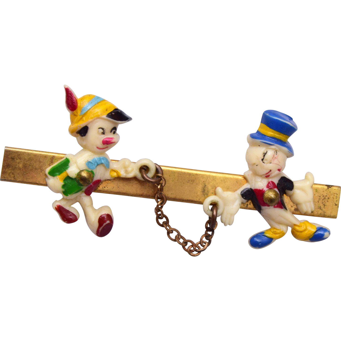 Walt Disney Productions Jiminy and Pinocchio Brooch