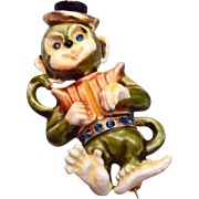 HAR Enameled Figural Dancing Monkey Brooch