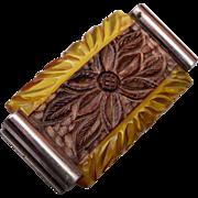 Apple Juice Bakelite and Carved Wooden Brooch