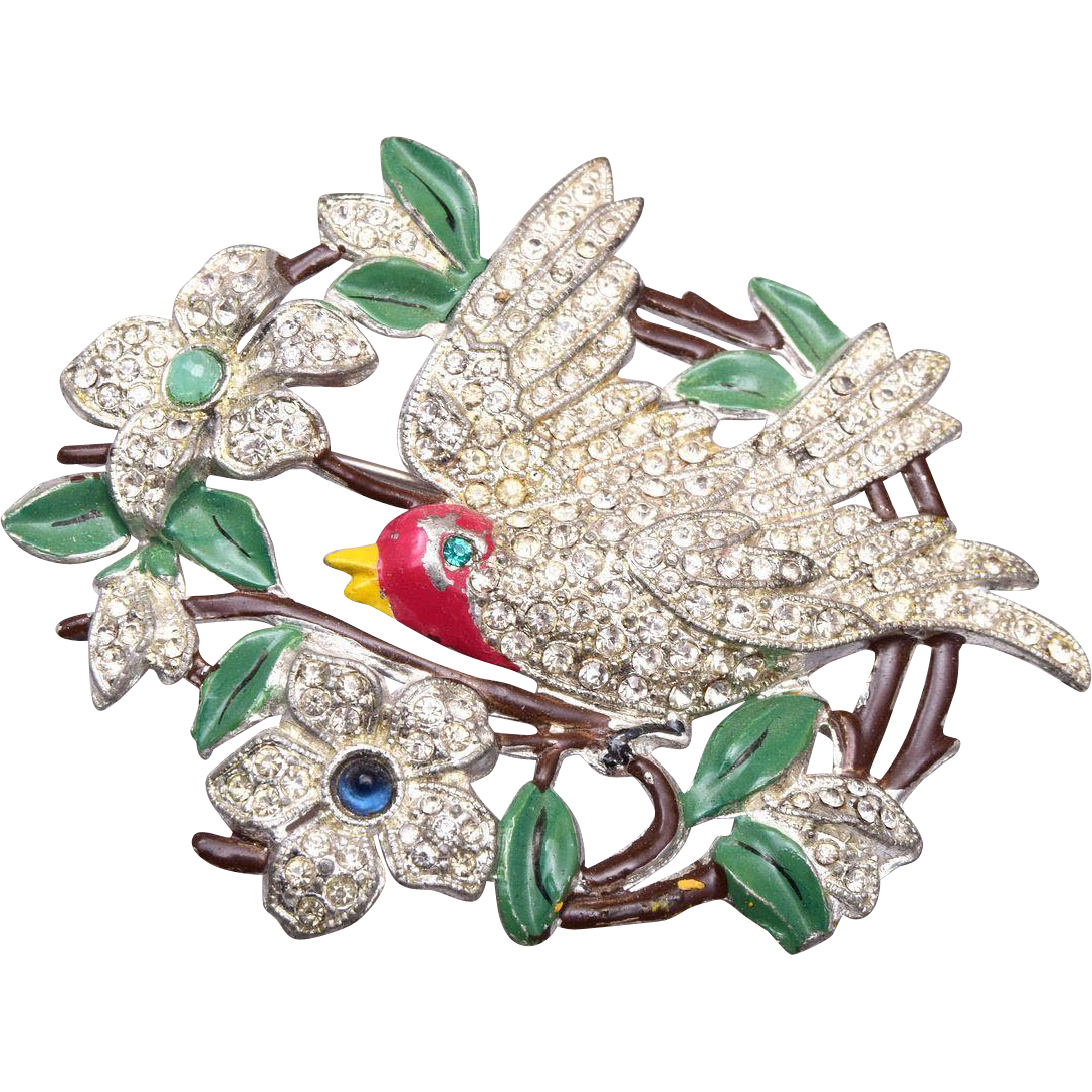 Pot Metal and Enamel Bird Brooch