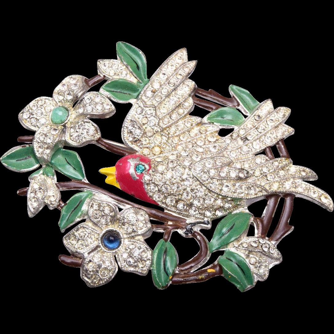 Pot Metal and Enamel Bird Brooch