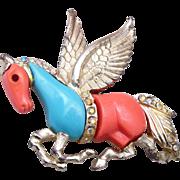 Molded Plastic Pegasus Brooch