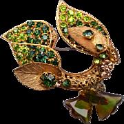 DeMario NY Green Rhinestone Brooch