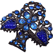 Blue Molded Glass Fruit Salad Brooch