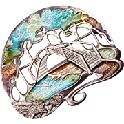 Sterling and Enamel Foot Bridge Brooch