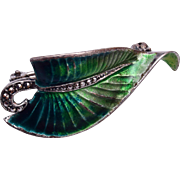 Sterling Germany Enameled with Marcasite Brooch