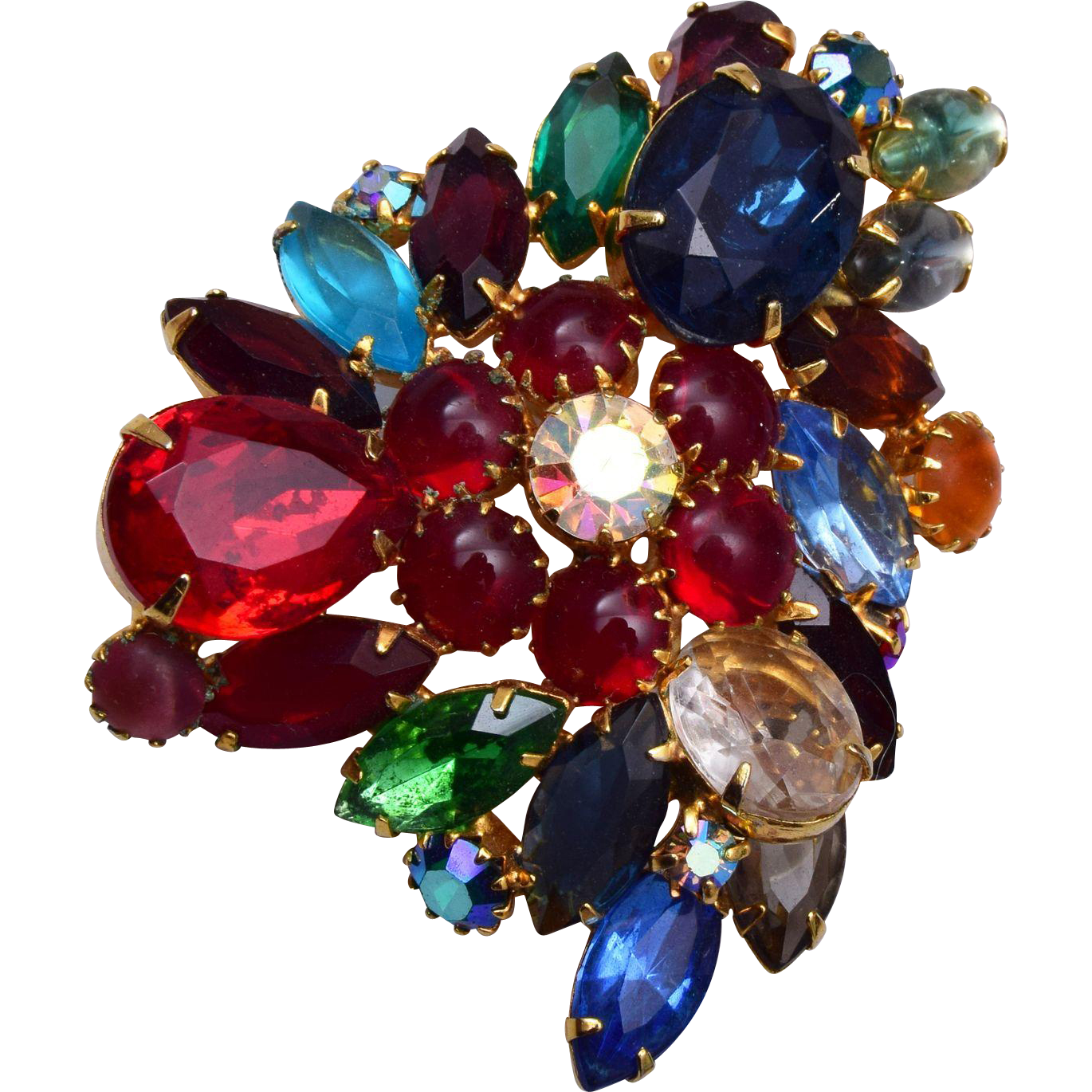 Multi Colored Open Backed Crystal Brooch