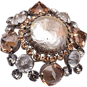 Schreiner of New York Upside Down Rhinestone Brooch