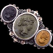 Victorian Lava 3 Cameo Silver Brooch