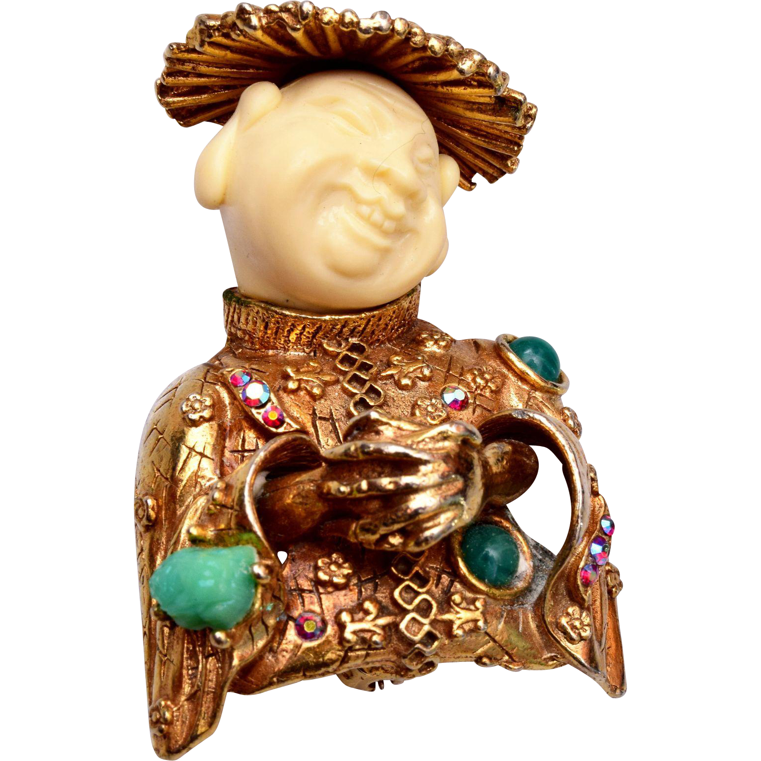 HAR 1960 China Man - Smiling Buddha Brooch
