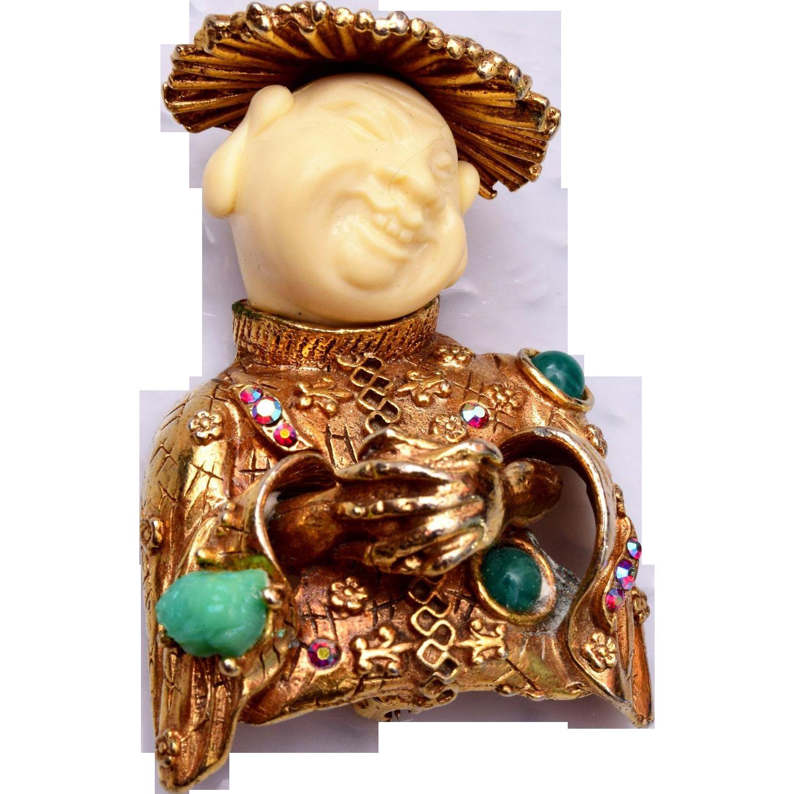 HAR 1960 China Man - Smiling Buddha Brooch