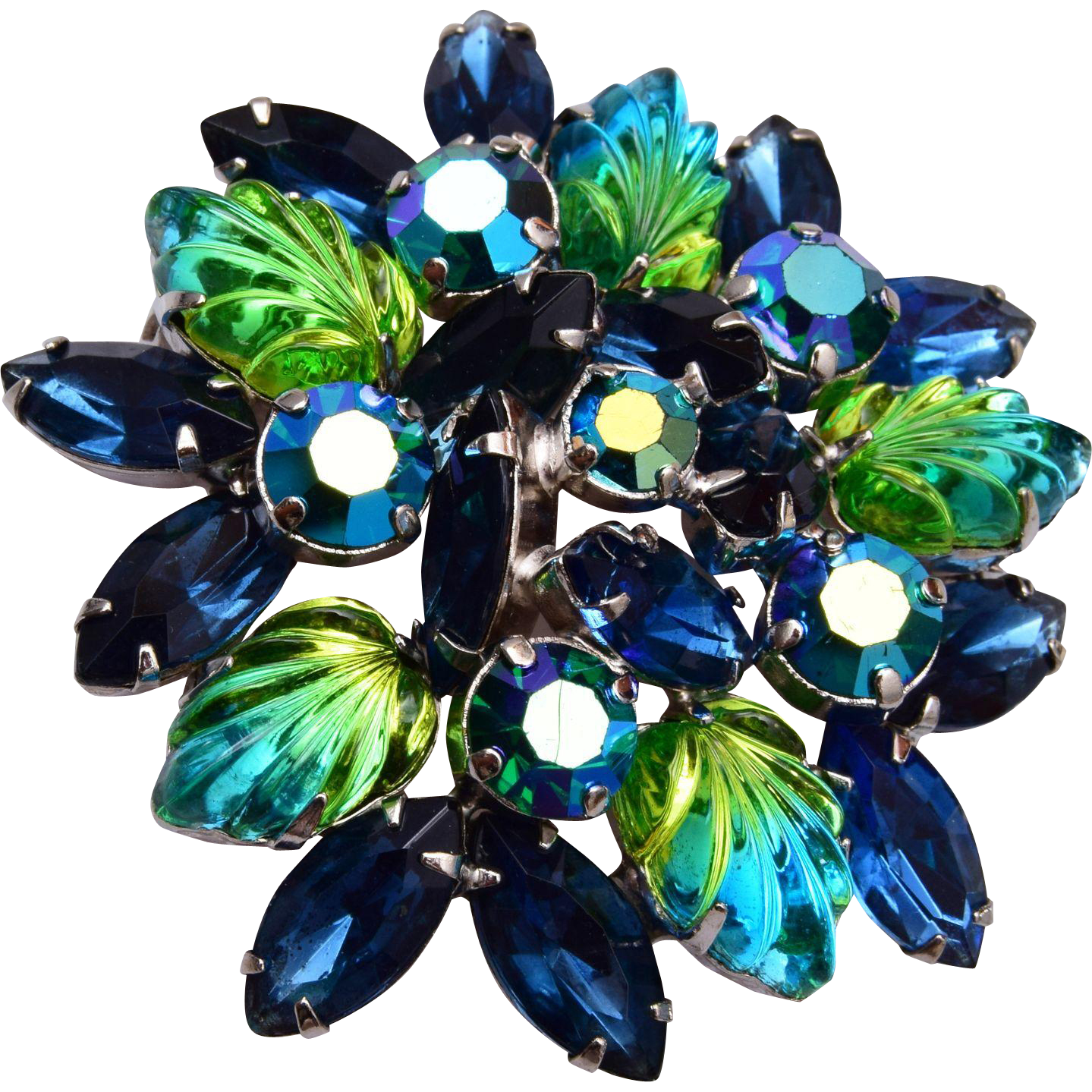 Molded Glass Blue and Green Givre' Stoned Brooch