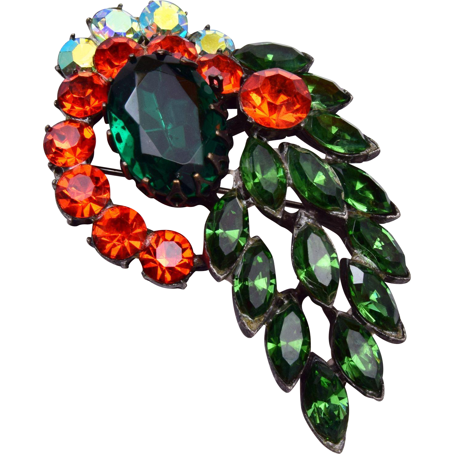Orange, Green and AB Rhinestone Brooch