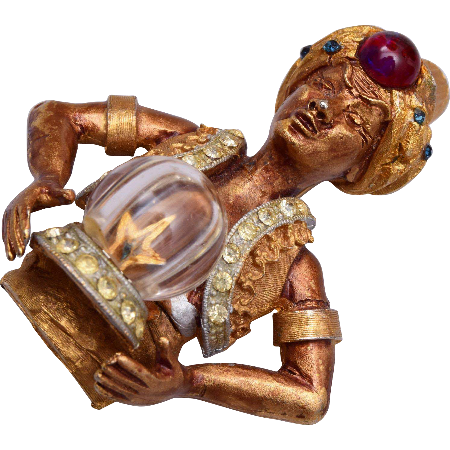 HAR Half Genie With Crystal Ball Brooch 1960