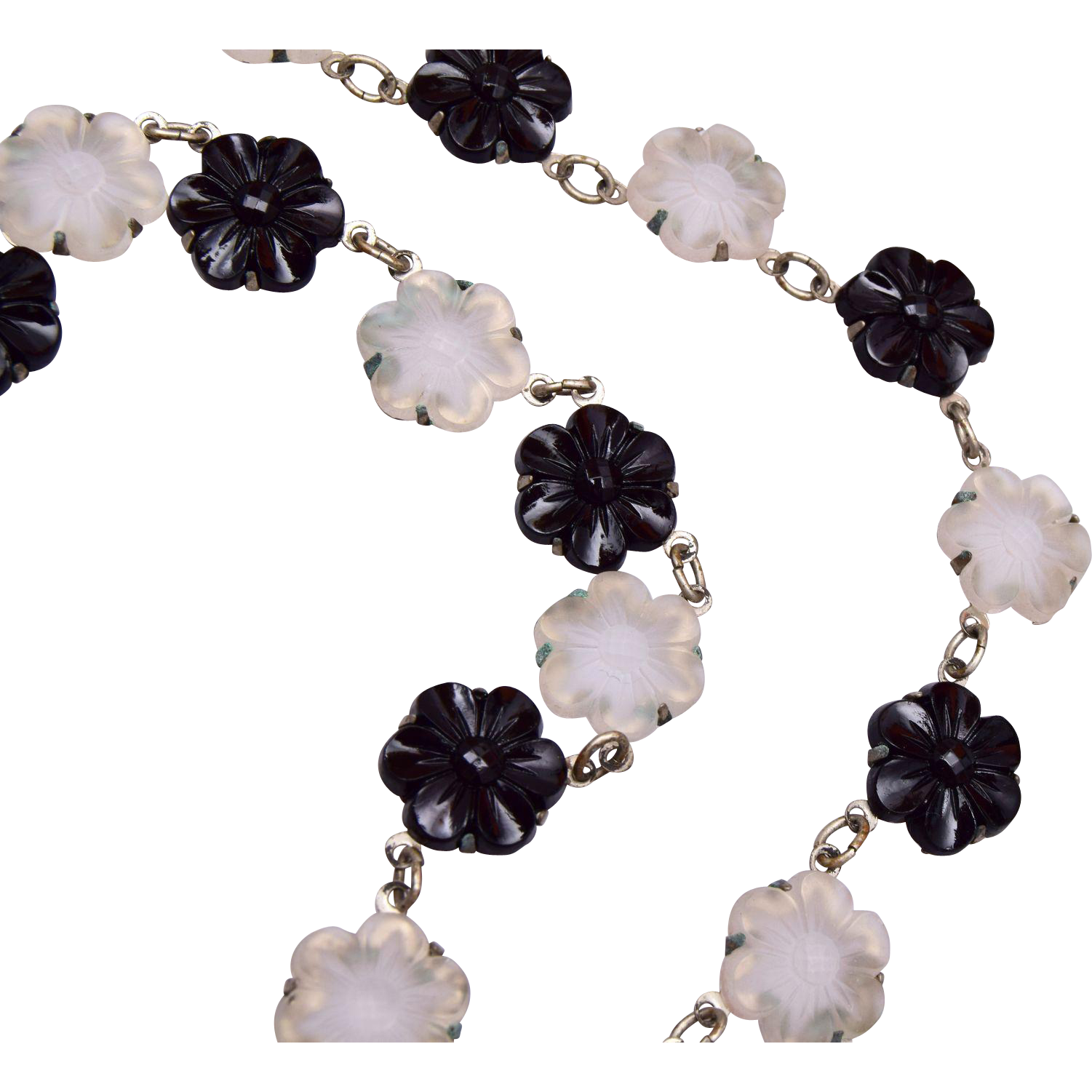 Molded Black and Frosted Glass Flower Necklace