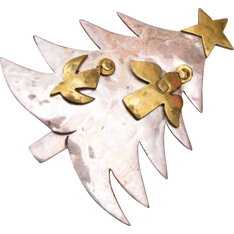 Brass and Sterling Marked Christmas Tree Brooch