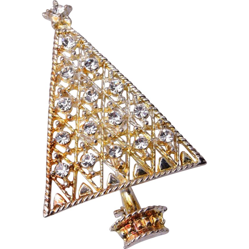 Eisenberg Ice White Rhinestone Christmas Tree Brooch
