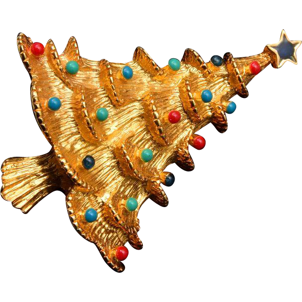 Eisenberg Ice Red and Green Enameled Christmas Tree Brooch