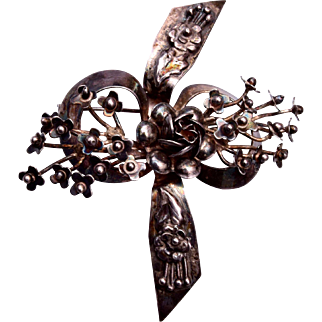 1940's Hobe Sterling Flower and Bow Brooch