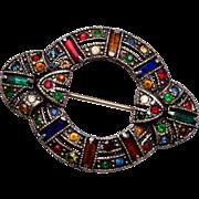 Colorful Art Deco Rhinestone Brooch