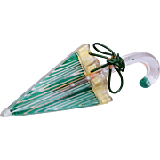 Reverse Carved and Painted Lucite Umbrella Brooch