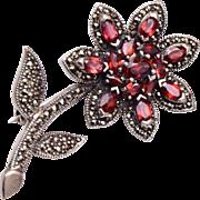 Sterling Marcasite and Garnet Flower Brooch