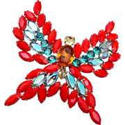 Large Orange and Green Rhinestone Butterfly Brooch