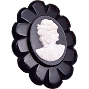 Black Bakelite and Celluloid Cameo Brooch