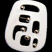 Eisenberg Modern Enameled White Brooch