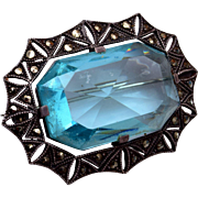 Sterling Germany Aqua Stone and Marcasite Brooch