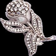 Trifari Silver Tone Rhinestone Flower Brooch