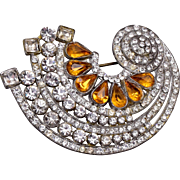 Pot Metal Art Deco Topaz Brooch